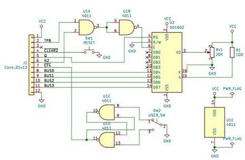 RCA CDP1802 COSMACを動かしてみた(9) LCDに文字を表示してみる