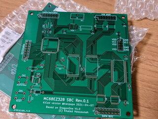 MC68EZ328 DragonOne SBCの基板が到着しました